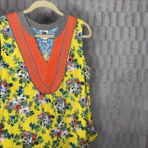 ivy jane Tops - Ivy Jane Yellow Floral Embroidered Tank Top